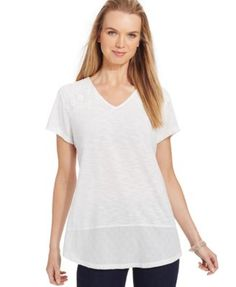 Style & Co. Crochet-Trim Shirttail Top, Only at Macy's