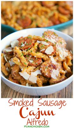 Smoked Sausage Cajun Alfredo - Only 5 ingredients - smoked sausage, pasta, cajun seasoning, heavy cream and parmesan - ready in under 15 minutes! No prep! Very similar to our all-time favorite Chicken Lazone, but with smoked sausage. OMG! AMAZING! Make this tonight! We ate it two nights in a row - it was that good!