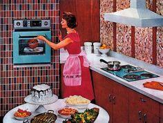 Homemaking the modern housewife with retro flair 1950s Housewife, Vintage Housewife, Housewife Humor, Vintage Cooking, Vintage Kitchen, 1950s Kitchen, Retro Kitchens, Dream Kitchens, Propaganda E Marketing