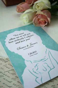 """31 Beautiful Ideas For A Book-Inspired Wedding- """"I love you most ardently"""" pride & prejudice wedding invitation"""