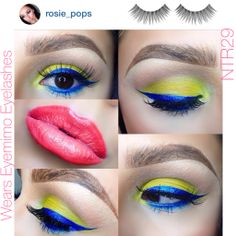 Playing with color with @rosie_pops! We love this fun look incorporating the blues and yellow-greens with our #NTR29 #eyelahses! #eyemimocosmetics #popofcolor  #eyemakeup