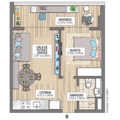 5 tips to properly develop your first apartment - HomeDBS Studio Apartment Floor Plans, Studio Apartment Design, Apartment Interior Design, Small Apartment Plans, Apartment Kitchen, Japanese Apartment, Small House Plans, House Floor Plans, Plan Hotel