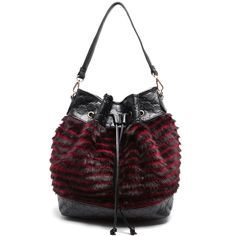 Black and dark red bucket bag