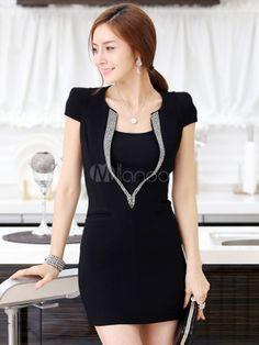 Charmante robe bodycon longue doux en coton noir et manches courtes - Milanoo.com
