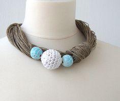 Statement ceramic and linen necklace / aqua by dekkoline on Etsy, $30.00