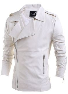 Zipper PU-Leather Turn-Down Collar Long Sleeve Men's Jacket - WHITE 2XL