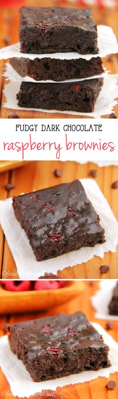 Fudgy Dark Chocolate Raspberry Brownies -- these skinny brownies don't taste healthy at all! They're insanely rich, as easy as a box mix & barely 100 calories!
