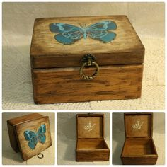 Jewelry wood box Decoupage box Blue butterfly Box by OXIArt