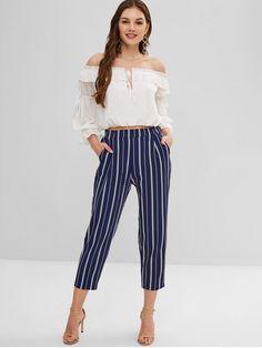 72dc236c9a5c Multi A Fall No Elastic Pencil Ninth Striped Loose High Fashion Striped  High Waisted Ninth Pants. daydaychic.com. Jumpsuits Til Kvinder ...