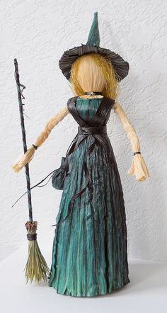 Witch Corn Husk Doll with Herb Bag and by LacyLeafStudio on Etsy, $65.00