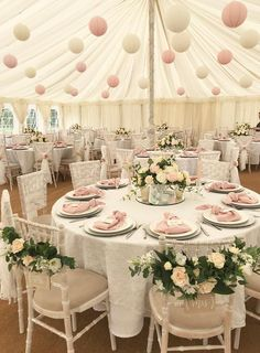 Summer Marquee Wedding Styling – ( SHOP THIS LOOK ) Pink, White & Wood. Paper la… Summer Marquee Wedding Styling – (SHOP THIS LOOK) Pink, White & Wood. Paper lanterns hanging from ceiling, wooden Mr Mrs chair signs, so pretty for summer weddings. Star Wedding, Floral Wedding, Wedding Flowers, Dream Wedding, Elegant Wedding, Rustic Wedding, Wedding White, Perfect Wedding, Wedding Dresses