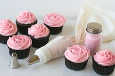 cupcakes, flowers, photography, pink, roses