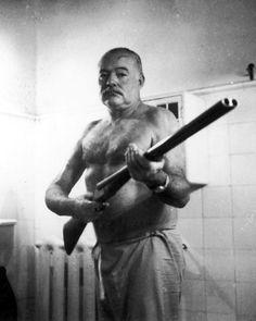 Ernest Hemingway at Finca Vigia in Cuba - Tortured Soul and Author Ernest Hemingway, Hemingway Cuba, William Faulkner, Che Guevara, Portraits, Guys, Writers, Icons, Badass