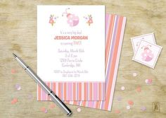 It's almost your little princess's big day. Make everything as pink and pretty as possible! | Invites sold on the Julie Bluet Etsy