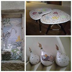 La mosaïque est une des faces de mon activité. Je vais présenter au salon certaines de mes créations, miroirs, tables, lampes et accessoires pour le jardin. Mes pièces sont toutes crées à partir de matériaux de récupération. J'aime mélanger les matériaux, faïence,bois, métal et autres, au gré de mes trouvailles. par Marie-Noelle Lejeune