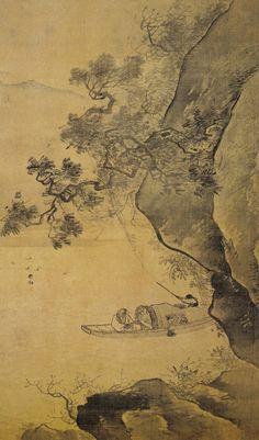 """《溪山放艇图》  张路 .  张路(1464—1538),字天驰,号平山,仅以字行于世,祥符(今河南开封)人,少年聪慧,见吴道子、戴进所画人物,临摹肖其神,以画成名,是明代追随戴进、吴伟的重要浙派画家,在人物上师法吴伟,但秀逸不足,狂放过之,山水上有戴进的风致。张路的绘画艺术很受世人赞誉,明朝詹景风就盛赞他""""足当名家""""。在当时,缙绅们咸加推重,得其真迹,如若拱壁。"""