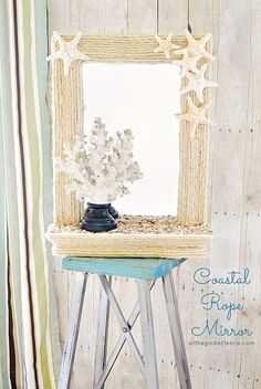 DIY Coastal Rope Mirror Makeover