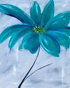Teal Flower, beginner painting idea.