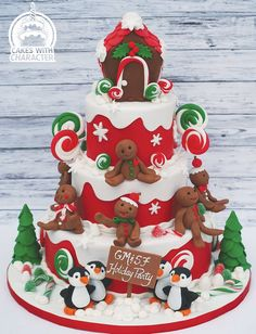 A Gingerbread Christmas - Cake by Jean A. Christmas Cake Designs, Christmas Cake Decorations, Christmas Cupcakes, Christmas Sweets, Holiday Cakes, Christmas Goodies, Christmas Baking, Christmas Time, Christmas Themed Cake