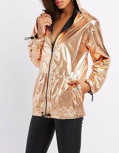 72adb2877f36 Metallic Hooded Anorak Jacket in Rose Gold
