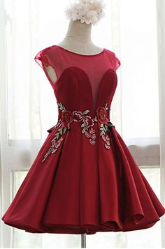 Cheap Homecoming Dresses Sweetheart Illusion Cap Sleeves Floral Embroidery A-Line Pleated Dress With Open Back And Lace-up Detailing Dresses For Teens, Girls Dresses, Formal Dresses, Bodycon Dress Parties, Party Dress, Luulla Dresses, Homecoming Dresses Long, The Dress, Aesthetic Clothes