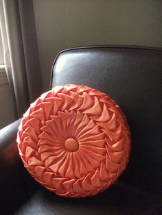 Vintage Orange Satin Pleated Pillow by RicsRelics on Etsy, $25.00