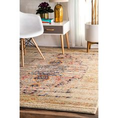 nuLOOM Distressed Traditional Vintage Medallion Sand Rug (7'10 x 11') | Overstock.com Shopping - The Best Deals on 7x9 - 10x14 Rugs