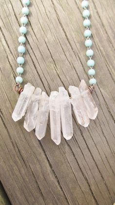 Raw Quartz Bib Necklace Turquoise Necklace Rustic Jewelry DanielleRoseBean Quartz Crystal Point Bib Necklace. $58.00, via Etsy.