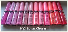 Review: NYX Butter Glosses (Entire Collection) and swatches! Nyx Butter Gloss, Lip Gloss, Strawberry Parfait, Vanilla Cream, Make Me Up, Dark Skin, Makeup Yourself, Swatch