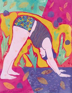 20$ Illustration de yoga Print relaxation yoga posture  Affiche de yoga par Annickg