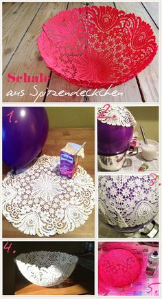 DIY your Christmas gifts this year with GLAMULET. they are compatible with Pandora bracelets. Basteln um zu Dekorieren - Schale aus Oma's Spitzendecken ganz leicht selber machen *** Great DIY Idea for old lace table cloth - Step pics (German) Kids Crafts, Cute Crafts, Creative Crafts, Diy And Crafts, Arts And Crafts, Summer Crafts, Easter Crafts, Neon Crafts, Diy Projects To Try