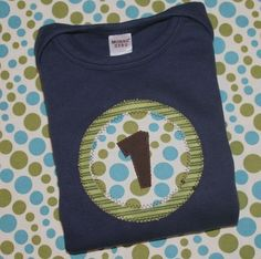 Boys First Birthday Number Shirt in Green by ThePolkaDotTotSpot - StyleSays