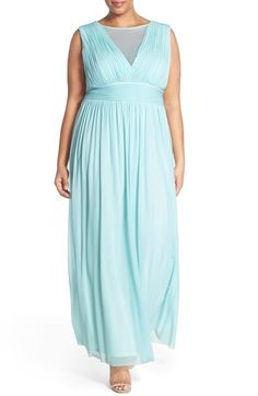 Marina Illusion V-Neck Sleeveless Gown (Plus Size)