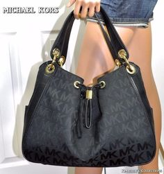 Michael Kors Handbag Purse Ludlow Black Large Shoulder Bag 38f3xlnl3j MK  Logo  2bfa29be53658