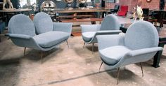 """Italian Settee with Chairs, 1950s, """"La Gondola""""   From a unique collection of antique and modern settees at https://www.1stdibs.com/furniture/seating/settees/"""