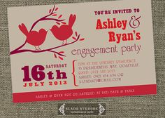 Love Birds engagement party invitation. Unique engagement and party invitations printable. on Etsy, $21.23 AUD