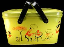 Vintage Yellow Picnic Basket with Family BBQ Motif