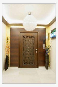 Residence in Mumbai - decoration - Door Design Grill Door Design, Pooja Room Door Design, Main Entrance Door Design, Room Door Design, Entrance Design, Home Entrance Decor, Door Design Modern, Front Door Design, Entrance Decor