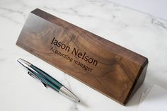 Personalized Wooden Desk Name, Customized Walnut desk name, Executive Personalized Desk Name Plate, wooden office sign by JMlabonneimpression on Etsy https://www.etsy.com/listing/542820908/personalized-wooden-desk-name-customized