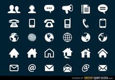 Set of several contact icons with different shapes. 6 different home icons, user icons, phone and smart phones icons, globe and world and much more.
