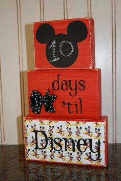 Disney Countdown Chalkboard Wooden Block by TheLittlePiggiesBows