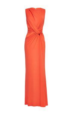 Orange jersey twisted knot dress by Elie Saab