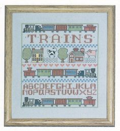 Trains Sampler Cross Stitch Pattern by PaperButtercup on Etsy, $3.20