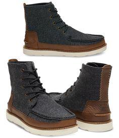d859be003bc41 Bottes Homme en Cuir Marron et Chevrons Gris - Searcher - TOMS. Bottes Homme  · Chaussures Homme ...