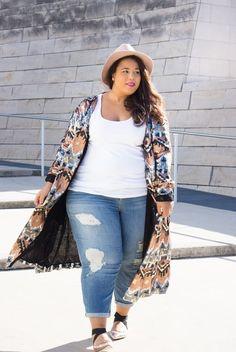 15 Chic Plus Size Outfits mit einem Kimono - Outfit Ideen 15 Chic Plus Size Outfits mit einem Kimono Look Plus Size, Plus Size Girls, Plus Size Women, Women's Plus Size Style, Plus Size Fashion Blog, Plus Size Fashion For Women, Curvy Outfits, Fashion Outfits, Womens Fashion