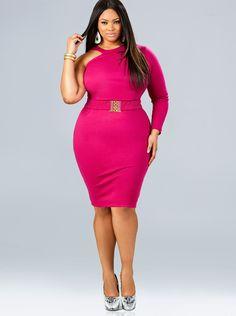 Monif Pink Cut Out Dress plus size style inspiration #UNIQUE_WOMENS_FASHION
