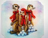 """Carte postale de voeux et son enveloppe décorée """" Suricates et boules de Neige """". : Cartes par matt-et-les-petits-cadeaux"""