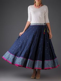 Silver Fuschia Navy Handblock Printed Mukaish Cotton Skirt Pinned by Sujayita Half Saree Designs, Blouse Designs, Chudidhar Designs, Kurta Designs, Long Skirt And Top, Casual Frocks, Long Skirt Outfits, Long Skirt Fashion, Shweshwe Dresses
