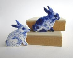 Bunny Brooch Handpainted Blue Delft by Harrietsblueandwhite
