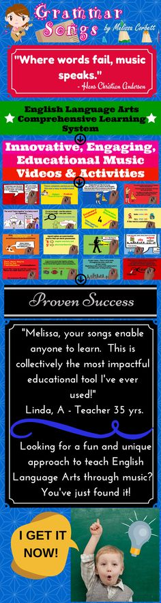 These catchy and fun lyrics and melodies make learning effortless for achieving life-long educational goals. I wrote these songs and created these activities to teach my students for life Teaching Language Arts, Teaching Writing, Teaching Tips, Speech And Language, Teaching English, Writing Help, Music Classroom, Future Classroom, Learning Styles